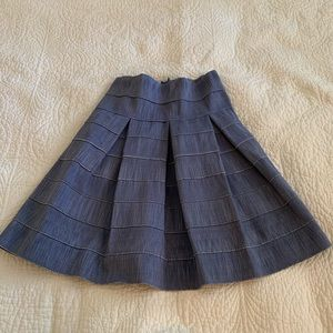 Francesca's Denim Pleated High Waisted Skirt